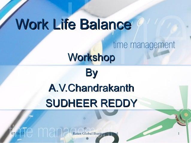 Work Life BalanceWork Life Balance WorkshopWorkshop ByBy A.V.ChandrakanthA.V.Chandrakanth SUDHEER REDDYSUDHEER REDDY 07/16...