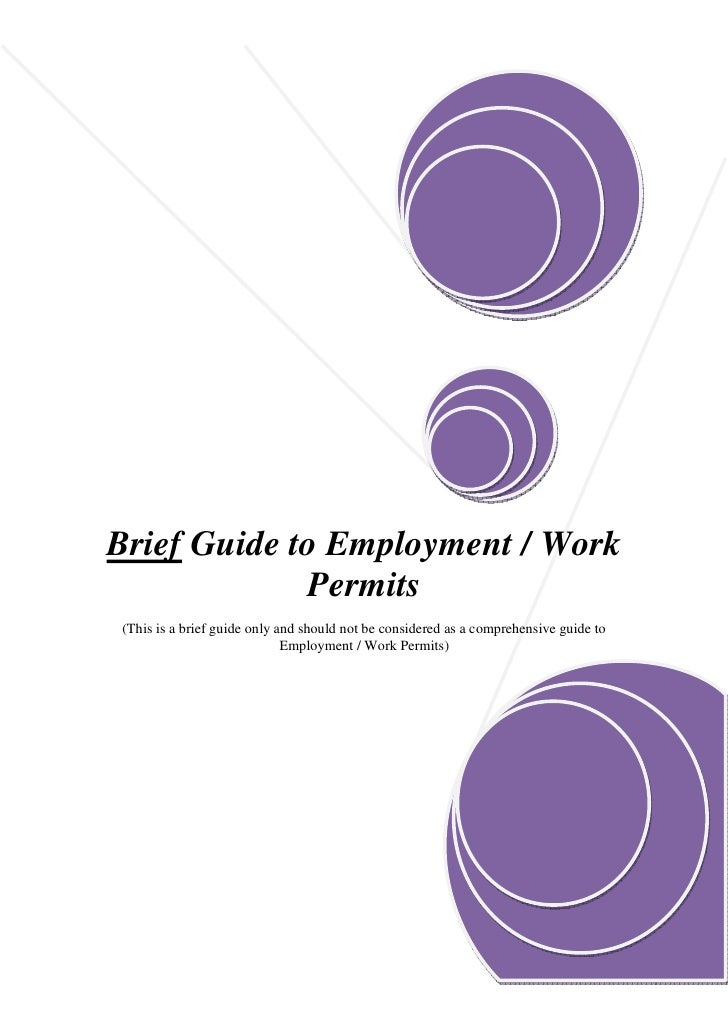 Brief Guide to Employment / Work              Permits (This is a brief guide only and should not be considered as a compre...