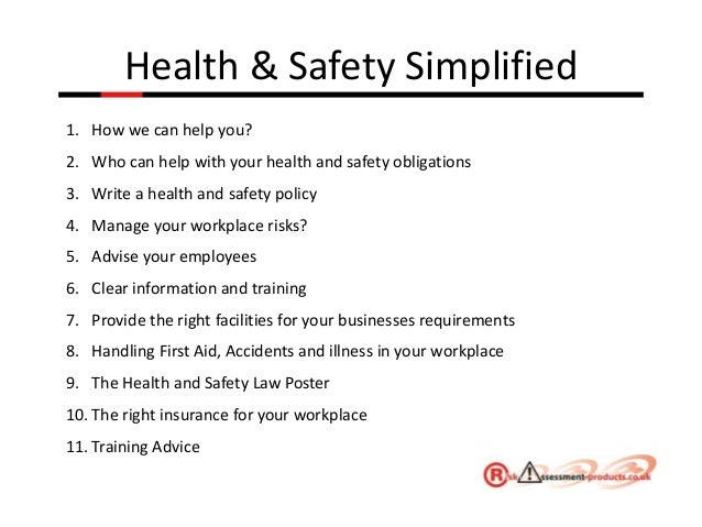 health and safety in the work place essays Handout #7 identifying safety and health problems in the workplace identifying health and safety problems can be as easy as answering basic questions.