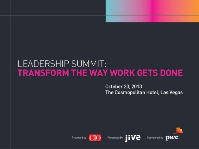 Workplace 2020 Keynote at Leadership Summit 2013