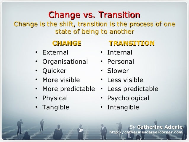 transitional change vs transformational change Transformational change vs continuous transformational change is a process designed to create significant change in the culture and work processes of.
