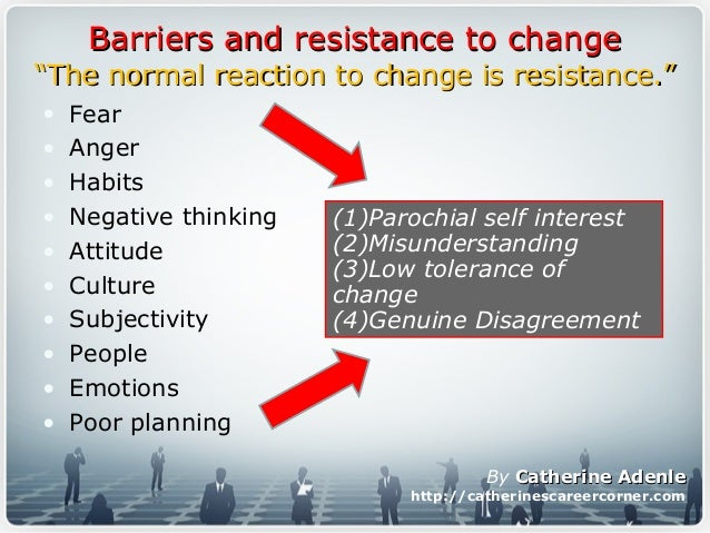 cultural resistance to change Managing resistance to change is an important part of the success of change  efforts in each company here are 28 factors as causes of resistance to change.