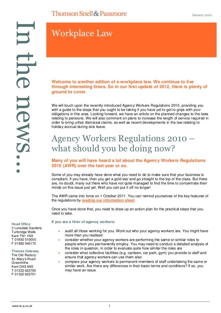 Workplace Law January 2012