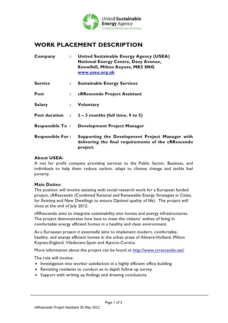 WORK PLACEMENT DESCRIPTIONCompany              :    United Sustainable Energy Agency (USEA)                          Natio...