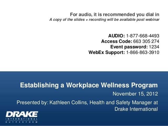 Establishing a Workplace Wellness Program