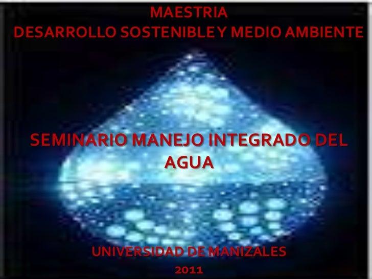 MAESTRIADESARROLLO SOSTENIBLE Y MEDIO AMBIENTE SEMINARIO MANEJO INTEGRADO DEL             AGUA        UNIVERSIDAD DE MANIZ...