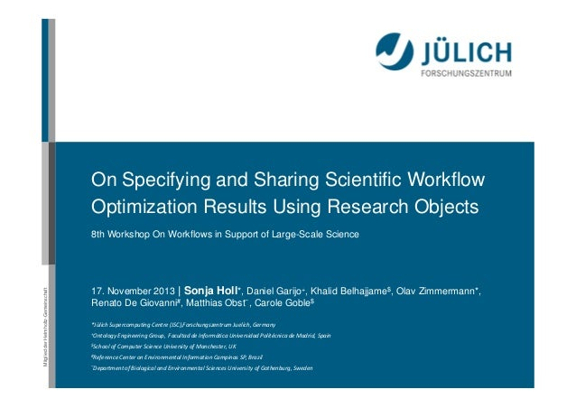 On Specifying and Sharing Scientific Workflow Optimization Results Using Research Objects  Mitglied der Helmholtz-Gemeinsc...