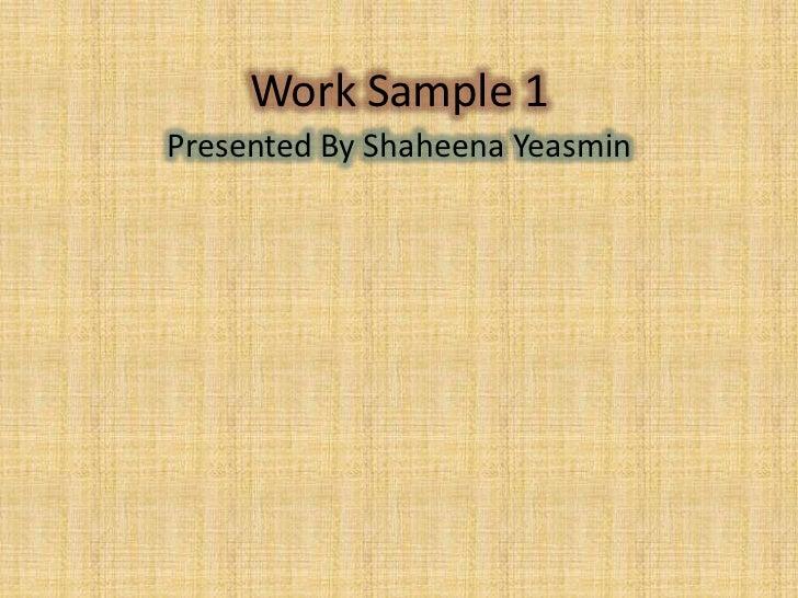 Work sample 1