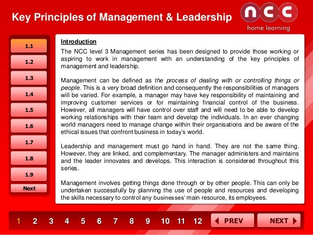 Key Principles of Management & Leadership Introduction  1.1  The NCC level 3 Management series has been designed to provid...