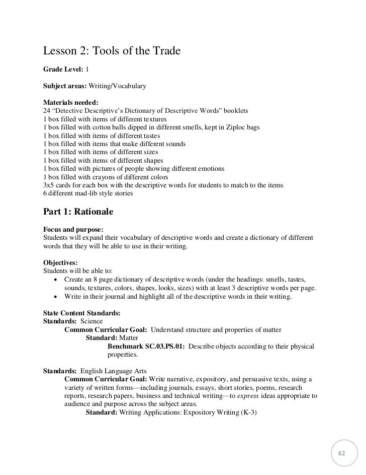 Objective description of a technical object essay