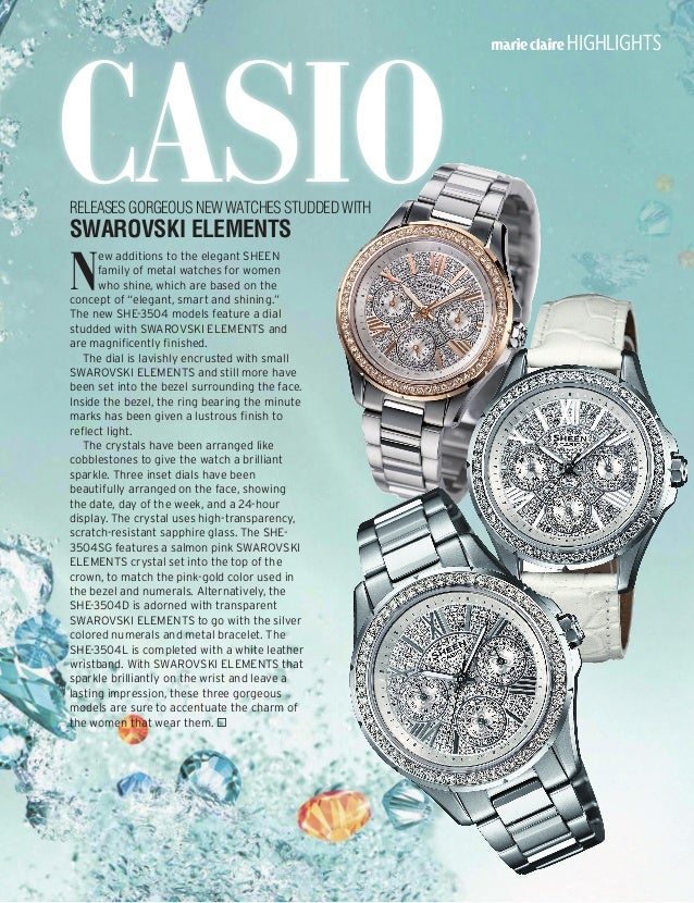 Casio highlights N ew additions to the elegant SHEEN family of metal watches for women who shine, which are based on the c...