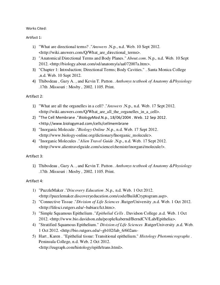"""Works Cited:Artifact 1:    1) """"What are directional terms? .""""Answers .N.p., n.d. Web. 10 Sept 2012.       <http://wiki.ans..."""