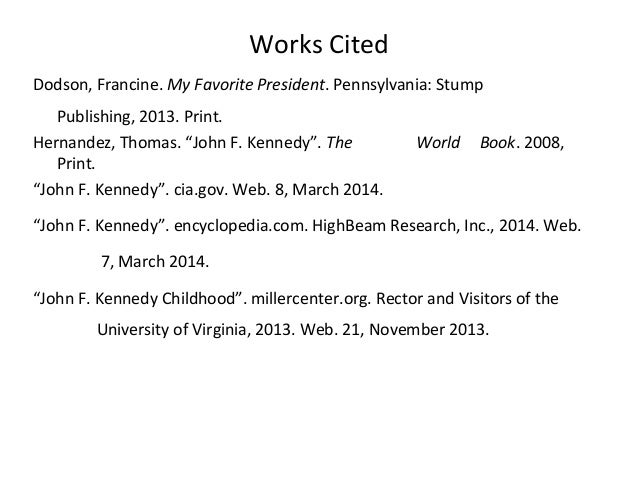 Works Cited For A Ppt