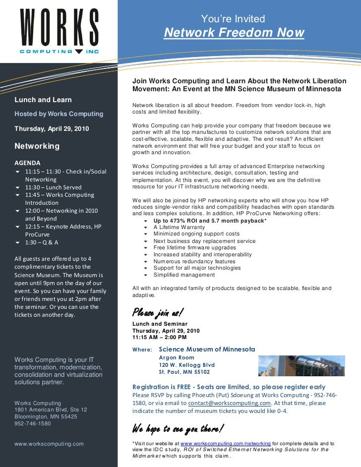 Works Computing   Networking Event Invitation