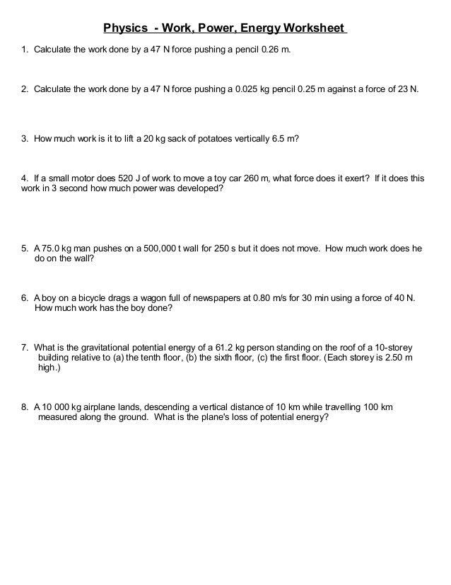 Worksheets Work Energy And Power Worksheet Answers work energy and power worksheet answer key pixelpaperskin key