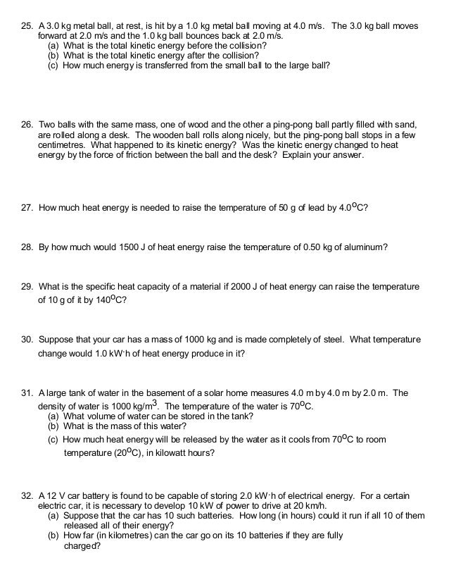 Energy Calculation Worksheet - Worksheets