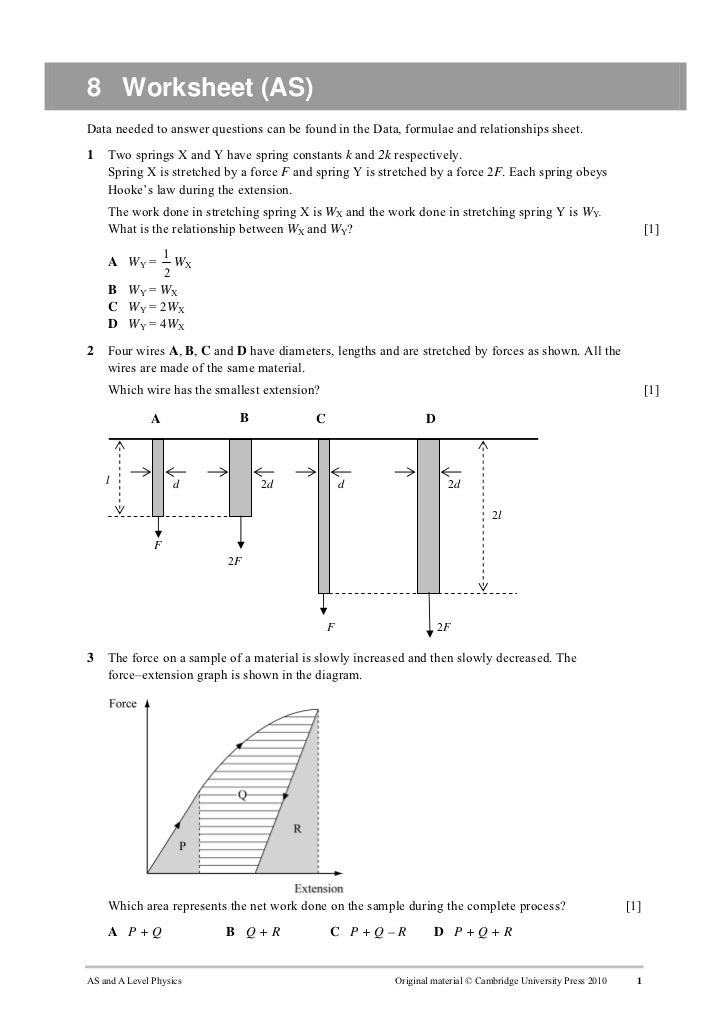 8 Worksheet (AS)Data needed to answer questions can be found in the Data, formulae and relationships sheet.1   Two springs...
