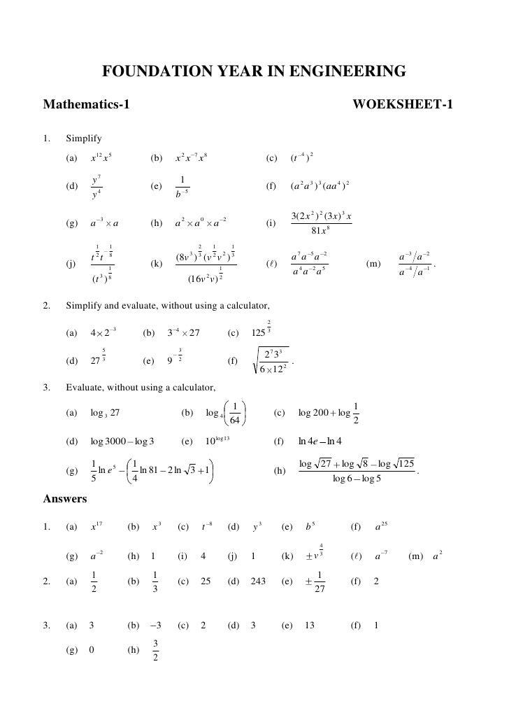 Logarithm Worksheet - basic logarithm worksheet related to ...