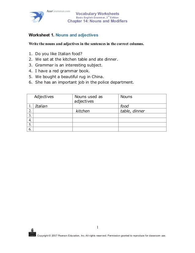 Vocabulary Worksheets rd  Basic English Grammar, 3 Edition  Chapter 14: Nouns and Modifiers  Worksheet 1. Nouns and adject...