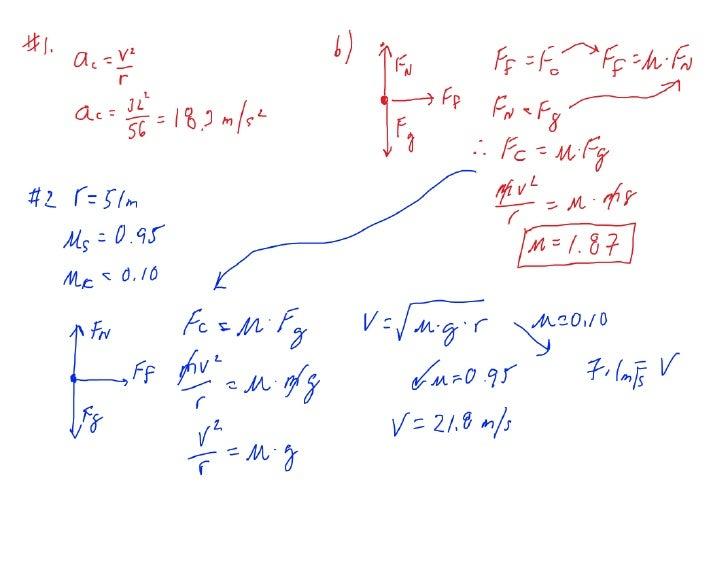 Centripetal Force Worksheet