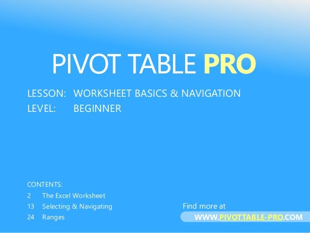 PIVOTEXCEL Full Training Course for Excel® 2013: LESSON: WORKSHEET BASICS & NAVIGATION LEVEL: BEGINNER CONTENTS: 2 The Exc...
