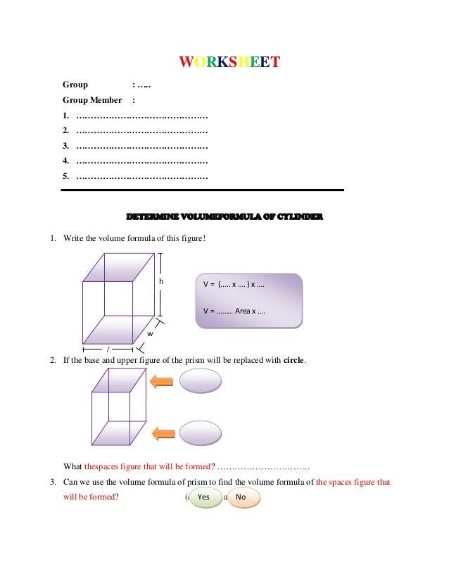 worksheet determine the formula of volume of cylinder and cone. Black Bedroom Furniture Sets. Home Design Ideas