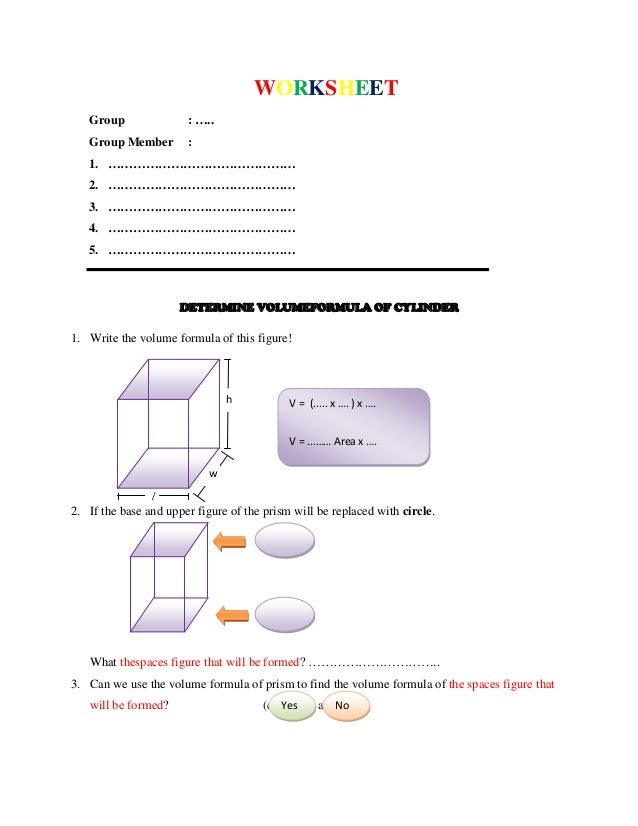 Worksheet determine the formula of volume of cylinder and cone