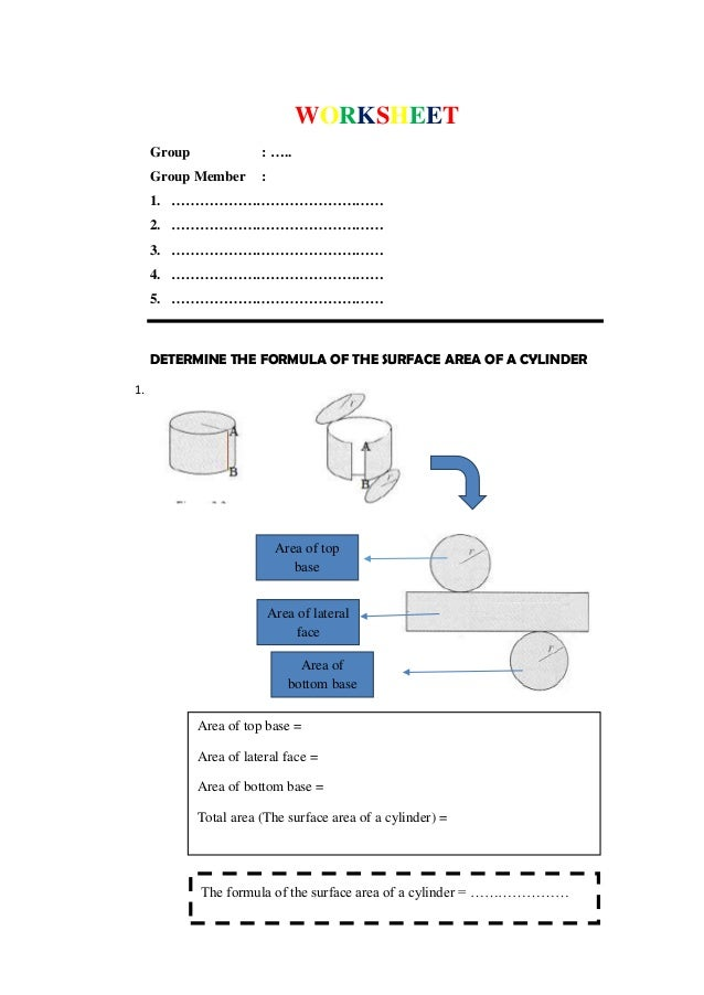 Worksheet determine the surface area of a cylinder and a cone