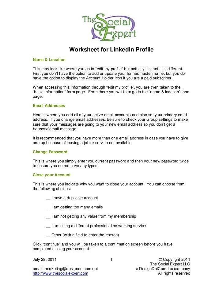 worksheet for linked in. Black Bedroom Furniture Sets. Home Design Ideas