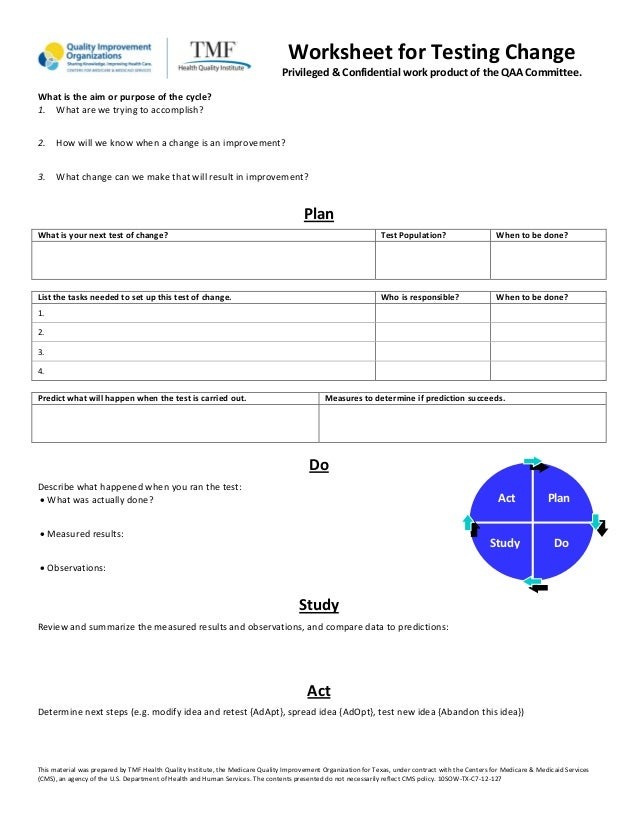 Worksheet for Testing Change Privileged & Confidential work product of the QAA Committee. What is the aim or purpose of th...