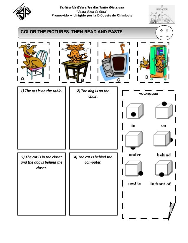 ... exercises for kindergarten 1st grade : Prepositions Of Place Worksheet