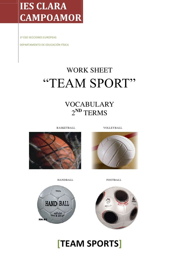 Worksheets 2nd Term Team Sports Vocabulary in class 1º ESO Secciones
