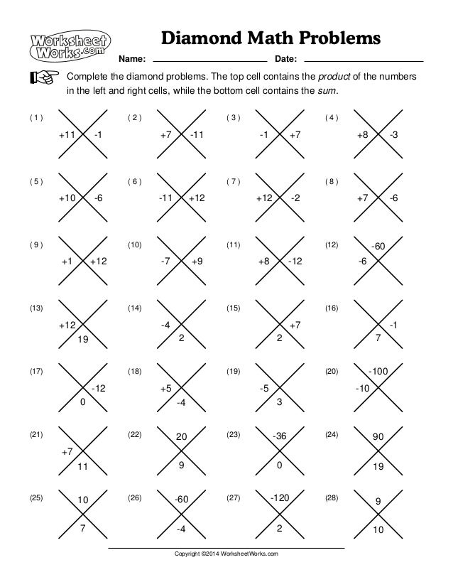 worksheet works diamond math problems 1. Black Bedroom Furniture Sets. Home Design Ideas