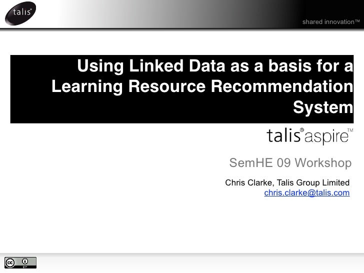 Using Linked Data as the basis for Learning Resource Recommendation