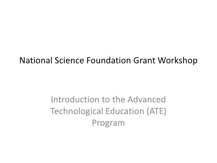 NSF ATE GRant Writing Workshop