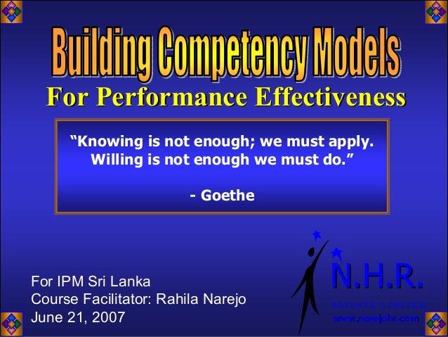 WORKSHOP: Performance Effectiveness, by Rahila Narejo
