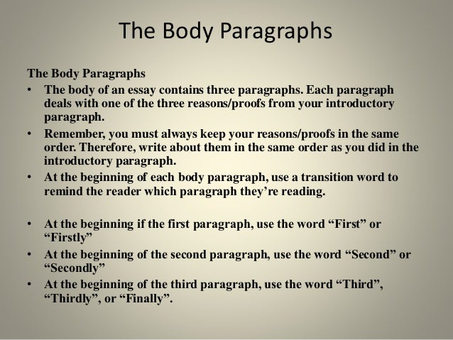 order of body paragraphs in essay Your body paragraphs should contain ample textual evidence, be correctly formatted, and have seamless transitions the body is the meat and potatoes of your essay.