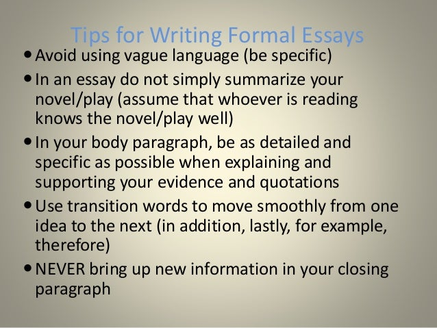 FIVE THINGS NOT TO DO IN AN ESSAY