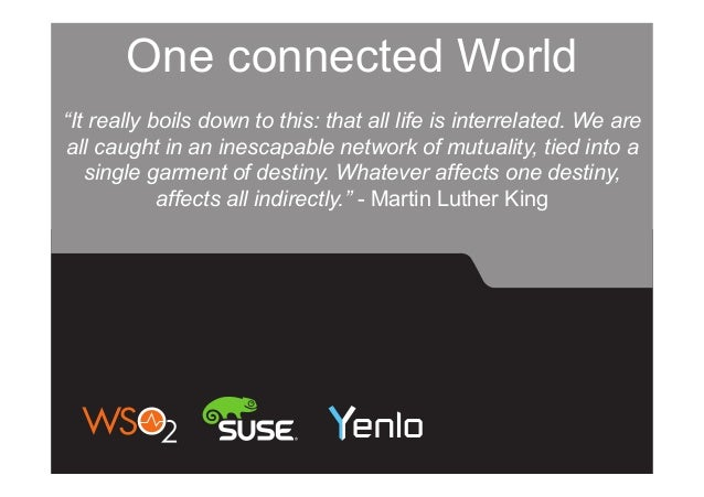 """One connected World """"It really boils down to this: that all life is interrelated. We are all caught in an inescapable netw..."""