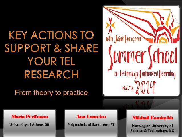 Workshop key actions to support and share your TEL research