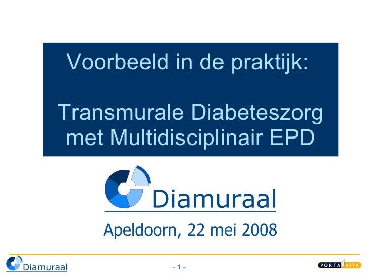 Voorbeeld in de praktijk:  Transmurale Diabeteszorg met Multidisciplinair  E PD Apeldoorn, 22 mei 2008