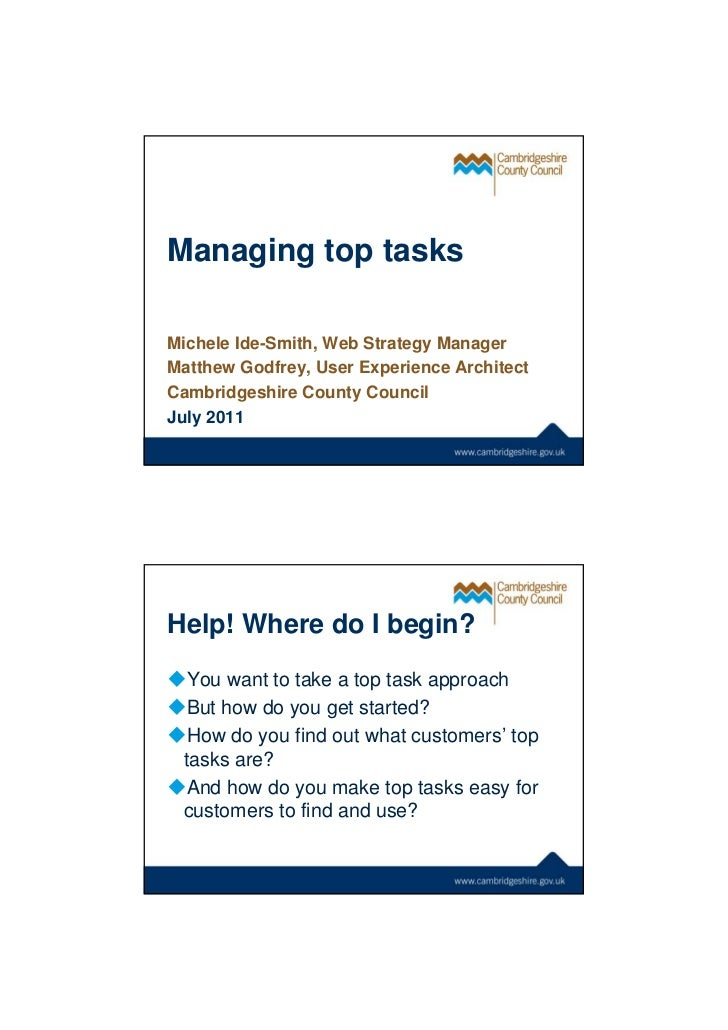 Workshop: Managing top tasks #BPCW11