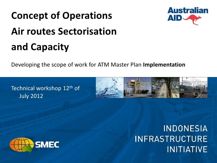 Concept of OperationsAir routes Sectorisationand CapacityDeveloping the scope of work for ATM Master Plan ImplementationTe...