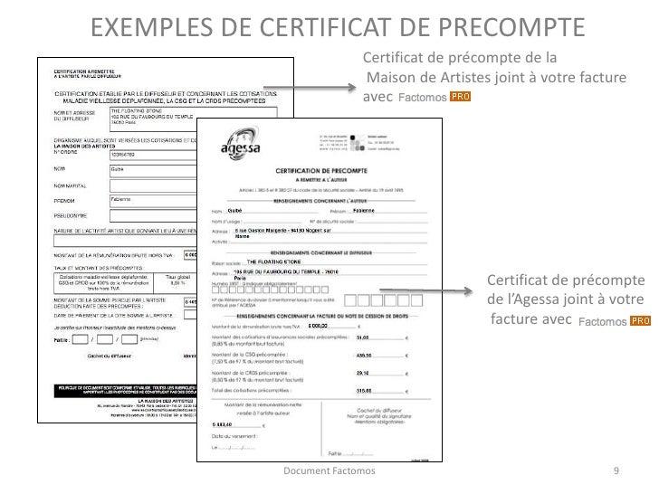 r aliser ses factures avec pr compte factomos ForCertificat De Precompte