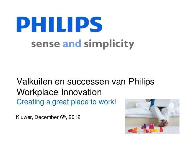 Valkuilen en successen van PhilipsWorkplace InnovationCreating a great place to work!Kluwer, December 6th, 2012