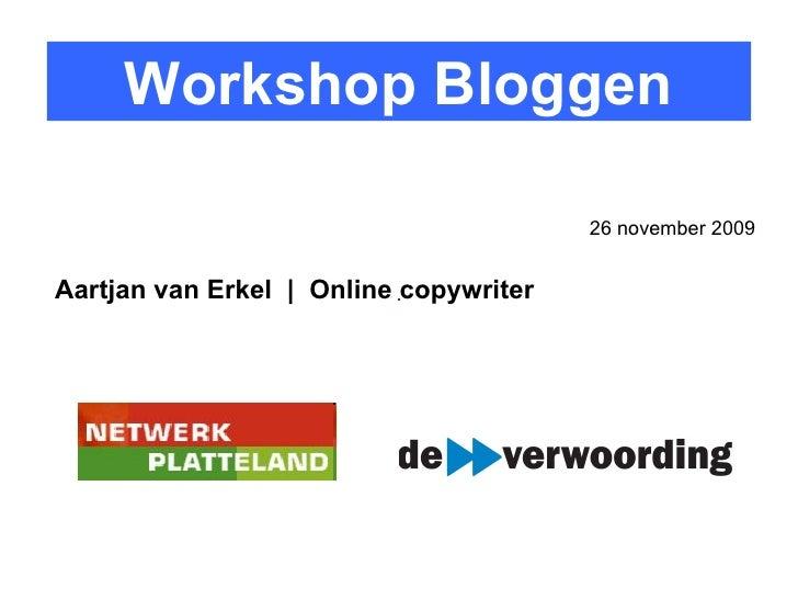 Workshop Bloggen Netwerk Platteland