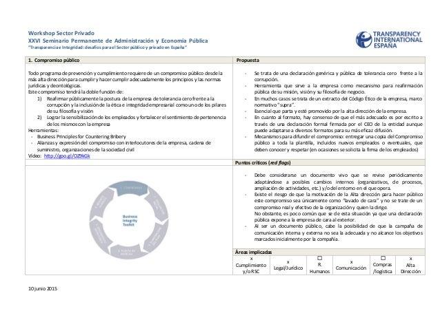 """Workshop Sector Privado XXVI Seminario Permanente de Administración y Economía Pública """"Transparencia e Integridad: desafí..."""