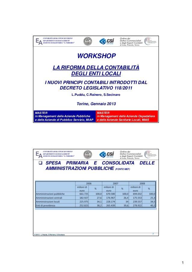 """Workshop """"La riforma della contabilità degli enti locali"""" 16.1.13"""