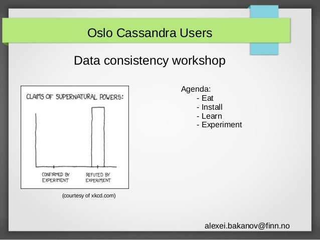 Oslo Cassandra Users Data consistency workshop Agenda: - Eat - Install - Learn - Experiment  (courtesy of xkcd.com)  alexe...