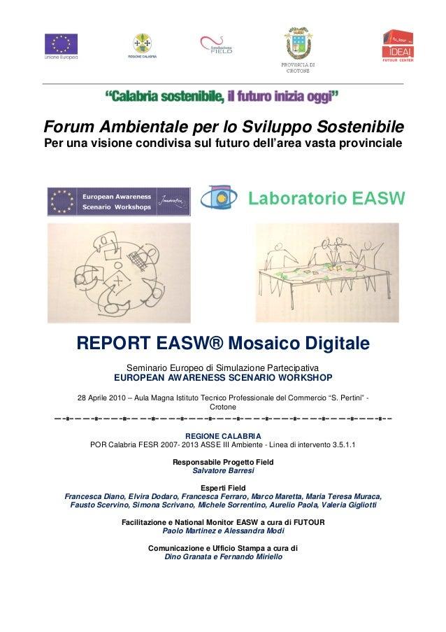 Workshop easw mody   provincia di crotone 2010  forum ambientale per lo sviluppo sostenibile